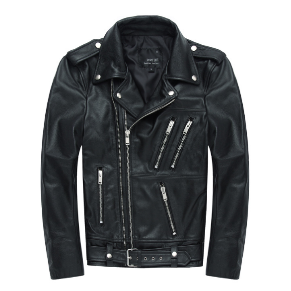 Factory Mens Black Genuine Leather Coats Slim Fitting Motorcycle Leather Jackets Mens Short Biker Outwear