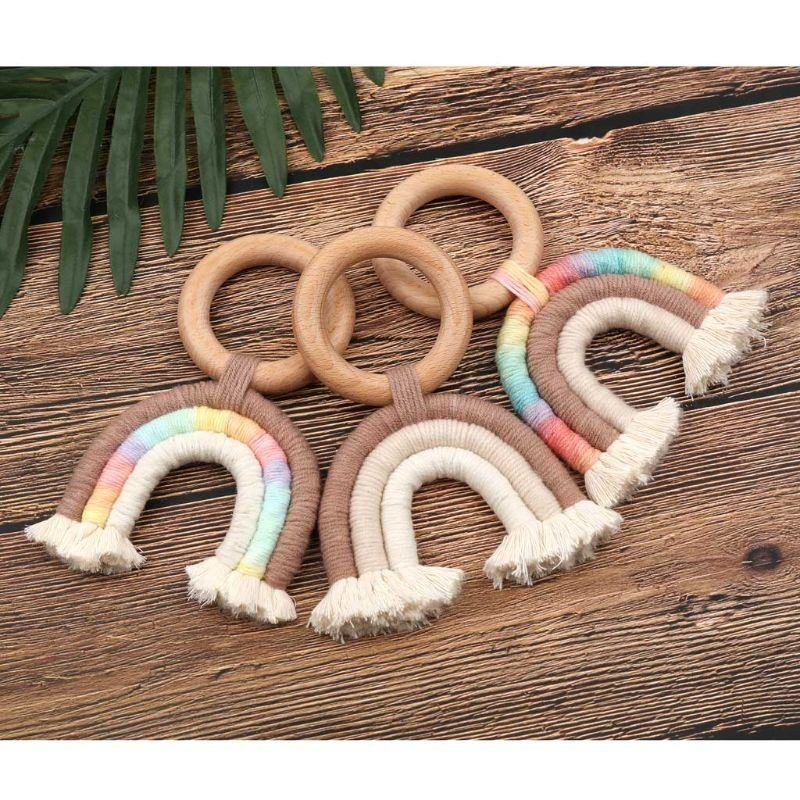 Rainbow Macrame Teether Wooden Teething Ring