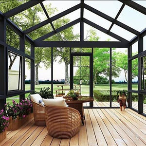 Free Standing Outside Insulating Aluminum Sun House Beautiful Triangle Roof Flat Roof Glass House Kits For Garden Villa