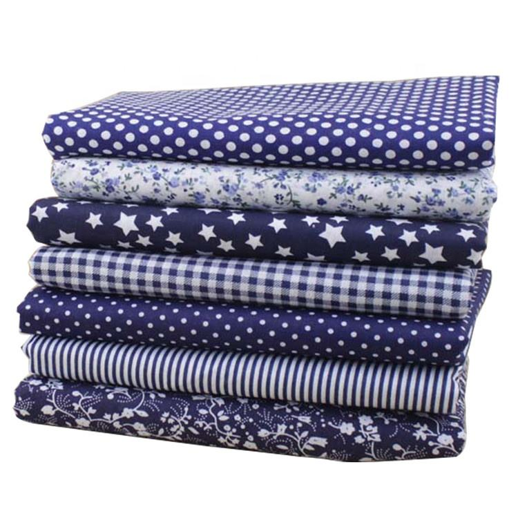 Eco-friendly High Quality Navy Print Fabric Textile Patchwork Cotton Fabric For Dress