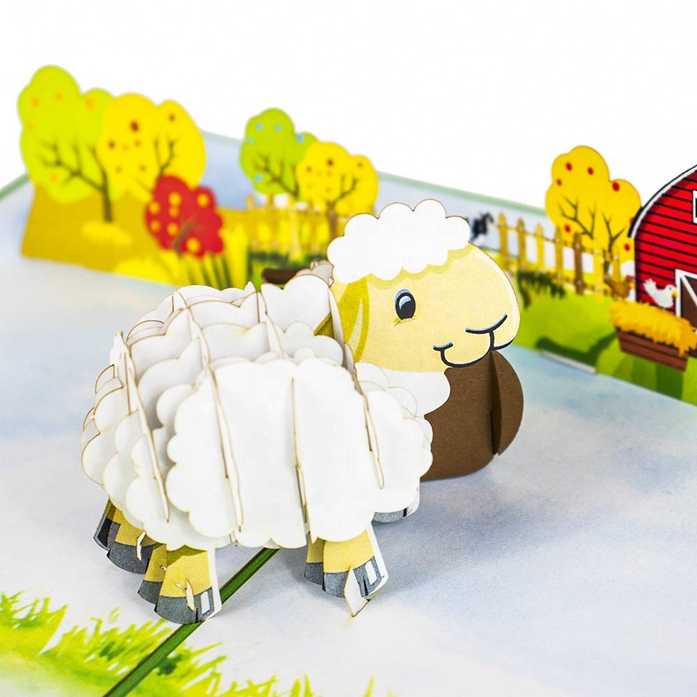 Baby sheep pop up cards 3D animal card Cartoon gifts for kids wholesale factory direct price (WhatsApp 84903442499)