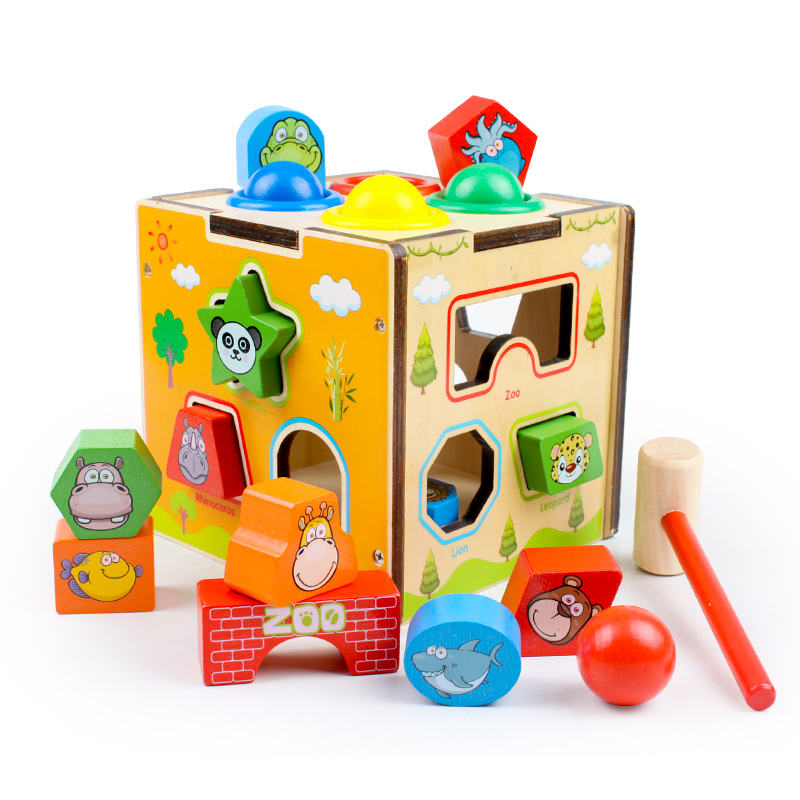 kids 3D wooden game toy kids sensory toys catching knocking game box for child's gift