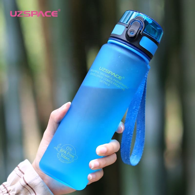 Sports Water Bottle with Straw and Handle, 100% BPA-Free Dust Proof Cap Water Bottles for Outdoor Hiking Camping