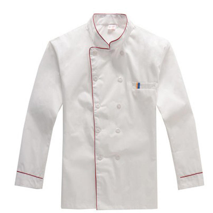 Wit Chef Uniform Chinese Stijl Ademende Lange Mouwen Aangepaste <span class=keywords><strong>Chef-kok</strong></span> <span class=keywords><strong>Jas</strong></span>