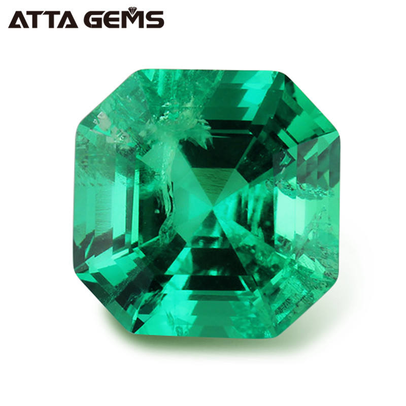 Hydrothermal Emerald Loose Gemstone Wholesale Synthetic Asscher cut Emerald for Sale