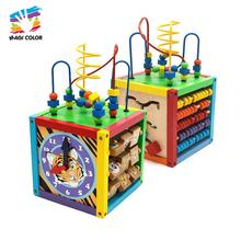 OEM/ODM multi-funtction activity cube wooden educational toys for kids W11B137
