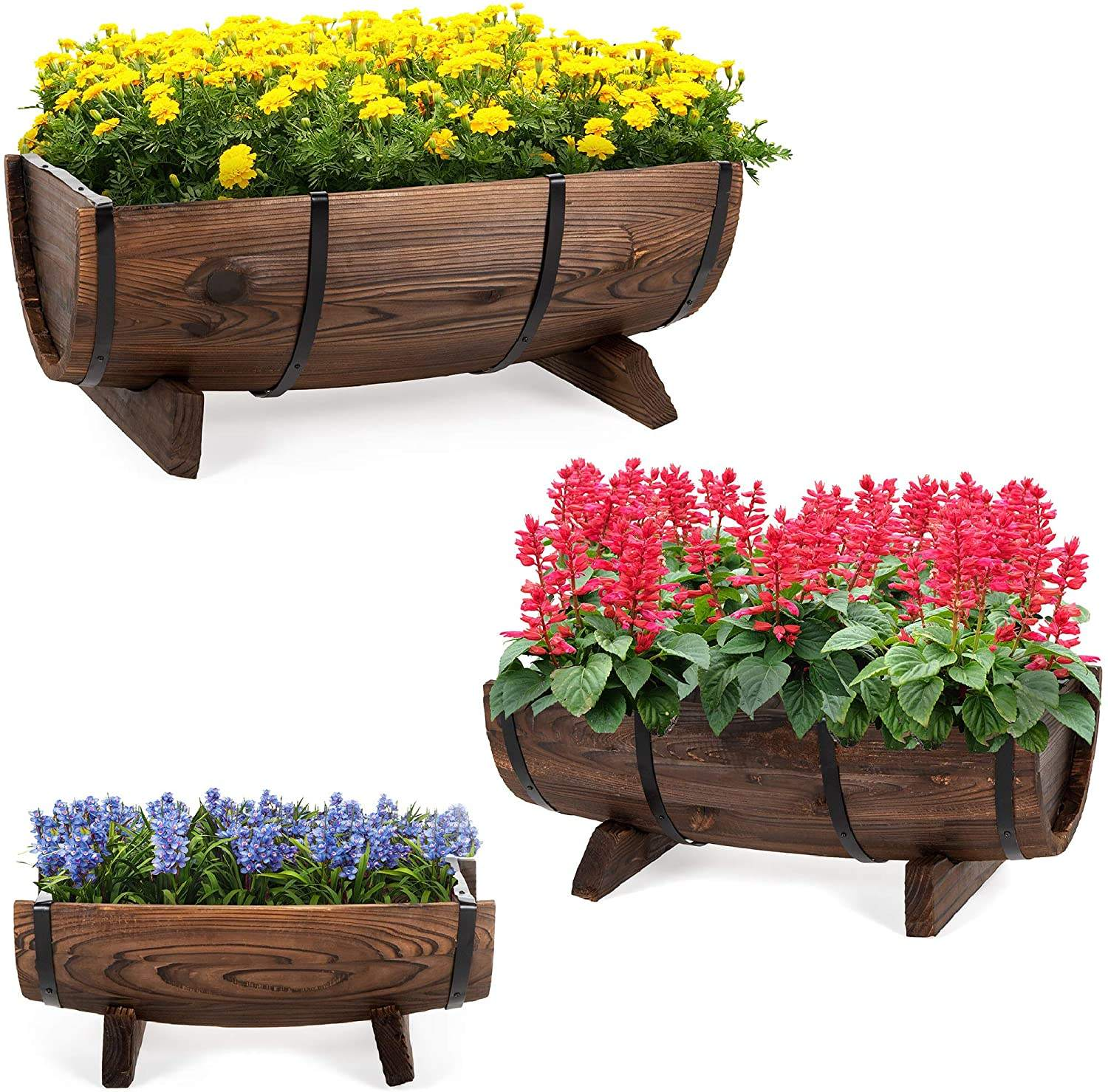 Set of 3 Wooden Half Barrel Garden Planters Set Rustic Decorative Flower Beds for Plants, Herbs, Veggies w/Drainage Holes, Multi