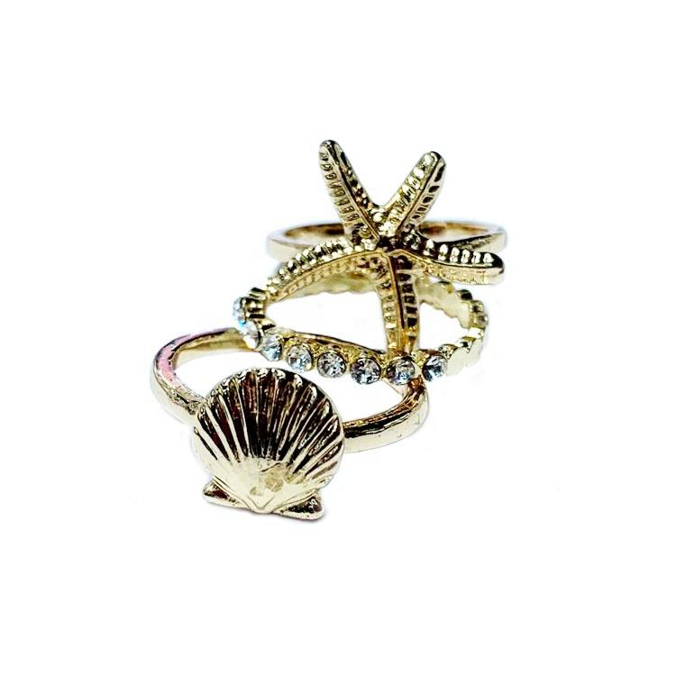 Mode Drie Lagen Crystal Diamond Ringen Gold Plating Metalen Zee Schelpen Starfish Parel Ringen Voor Vrouwen