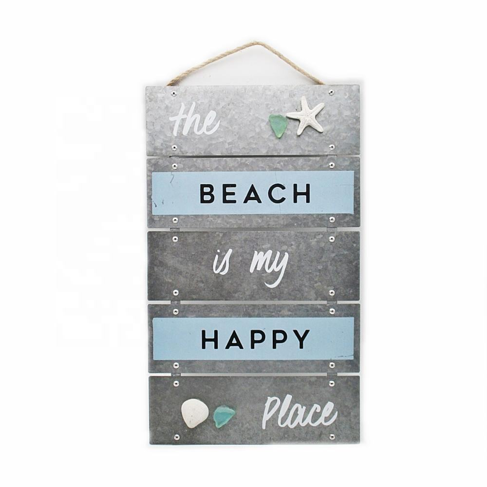 Wholesale Metal Hanging Nautical Decorative The Beach is My Happy Place Sign with String and Starfish for Beach Home Decoration