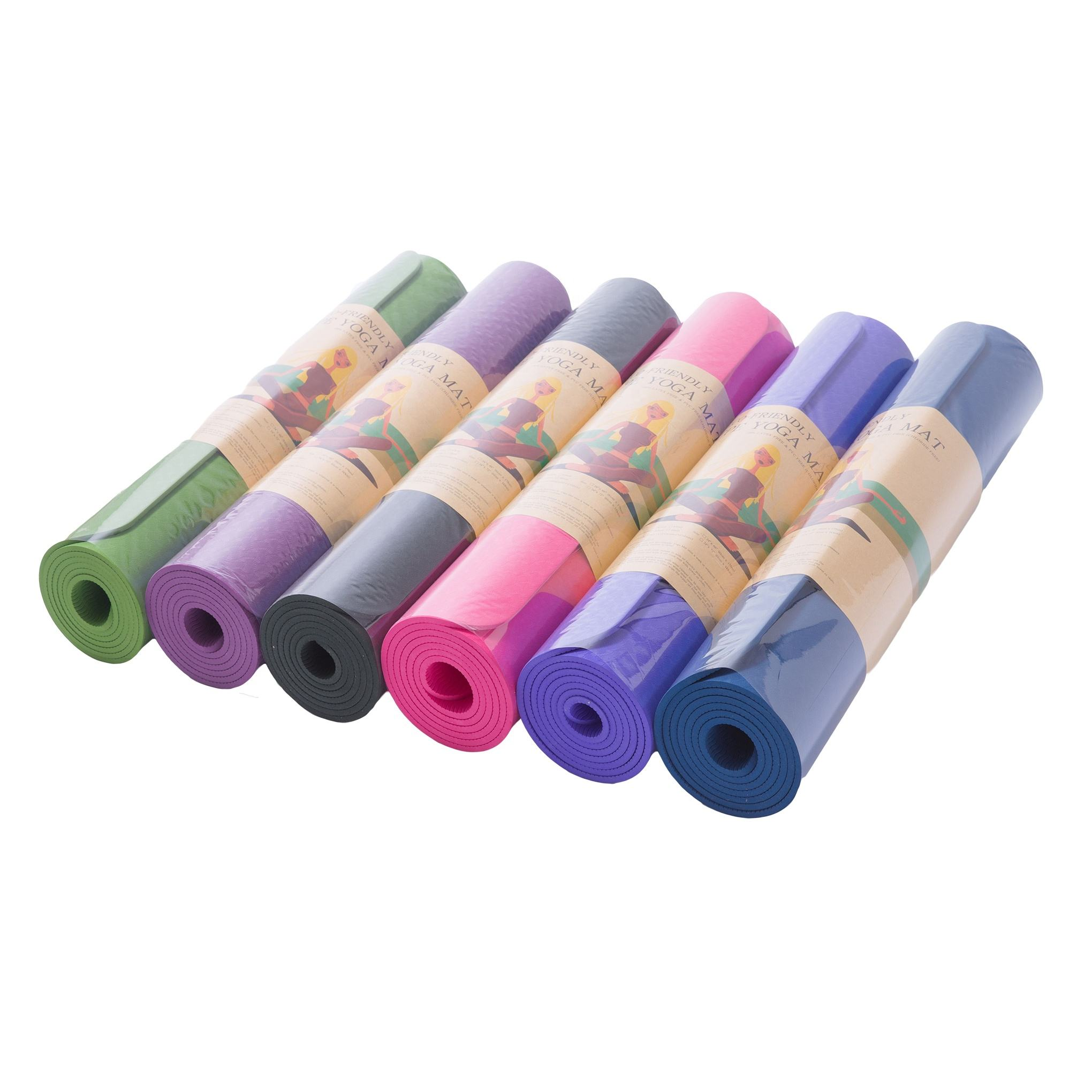 183cm*61cm*6mm for women anti-slip single color eco-friendly TPE yoga mat