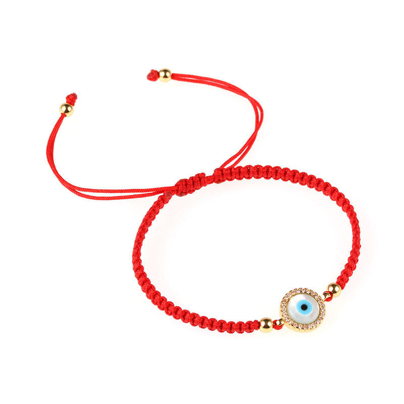 New Design CZ Pave Shell Eye Round Charm Red Cord Woven Braided Lucky Friendship Bracelet Women
