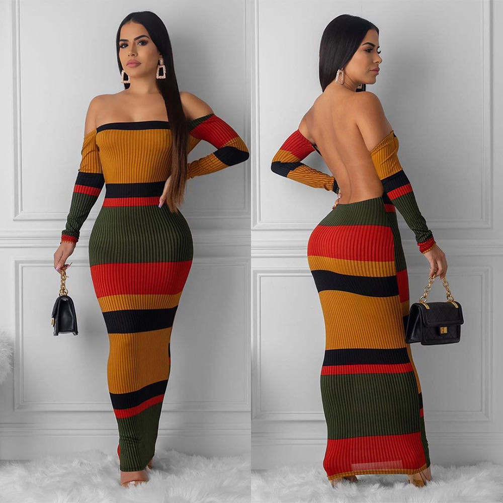 Women sexy off shoulder striped printed backless long sleeve bodycon dress