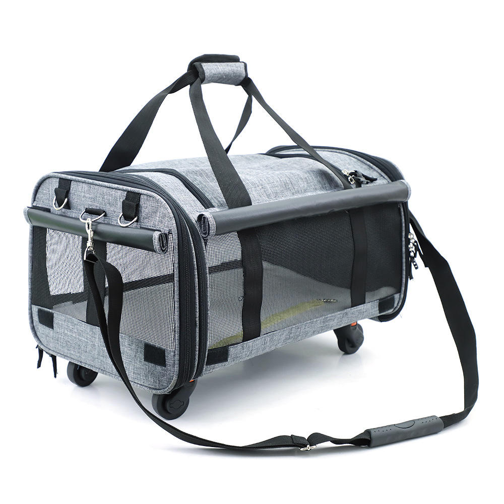 Portable Large Rolling Pet Carrier Airline Approved Trolley With 4 Wheeled Pet Carrier
