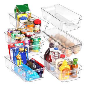 6 Piece Refrigerator Freezers Clear plastic food storage organizer bin Racks kitchen pantry organizer units