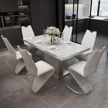dining tables  and chairs set for dining room modern Tempered glass extending square  dining table set 6 chairs