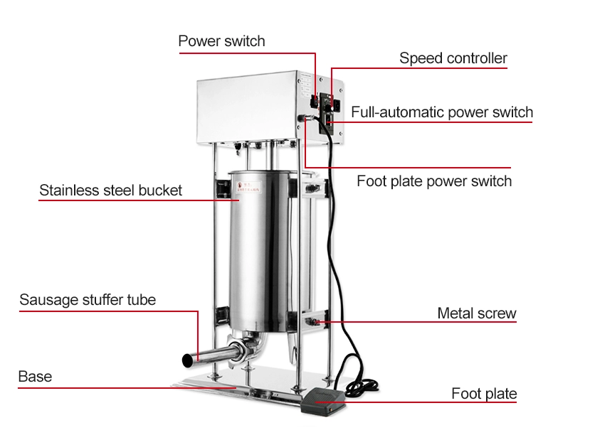 Full Stainless Steel 10L Manual Meat Grinder and Sausage Stuffer Machine
