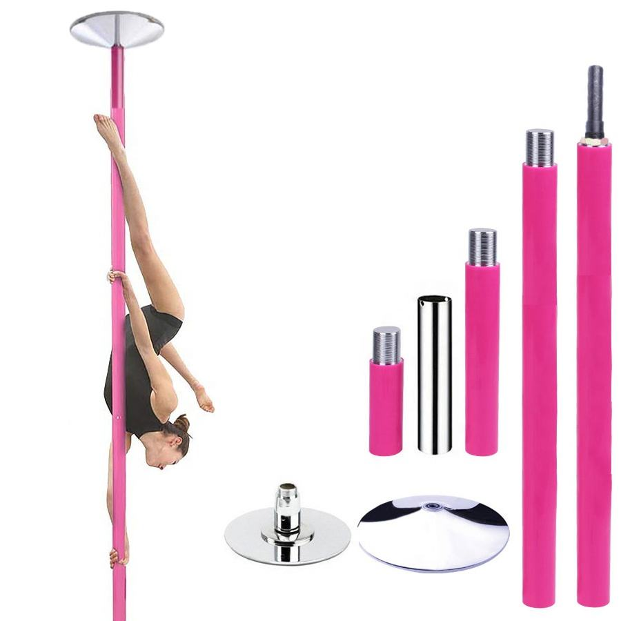 45mm Portable Professional Stripper Pole Spin and Static Dance Pole Kit Removable Fitness Exercise Dancing Pole for Home