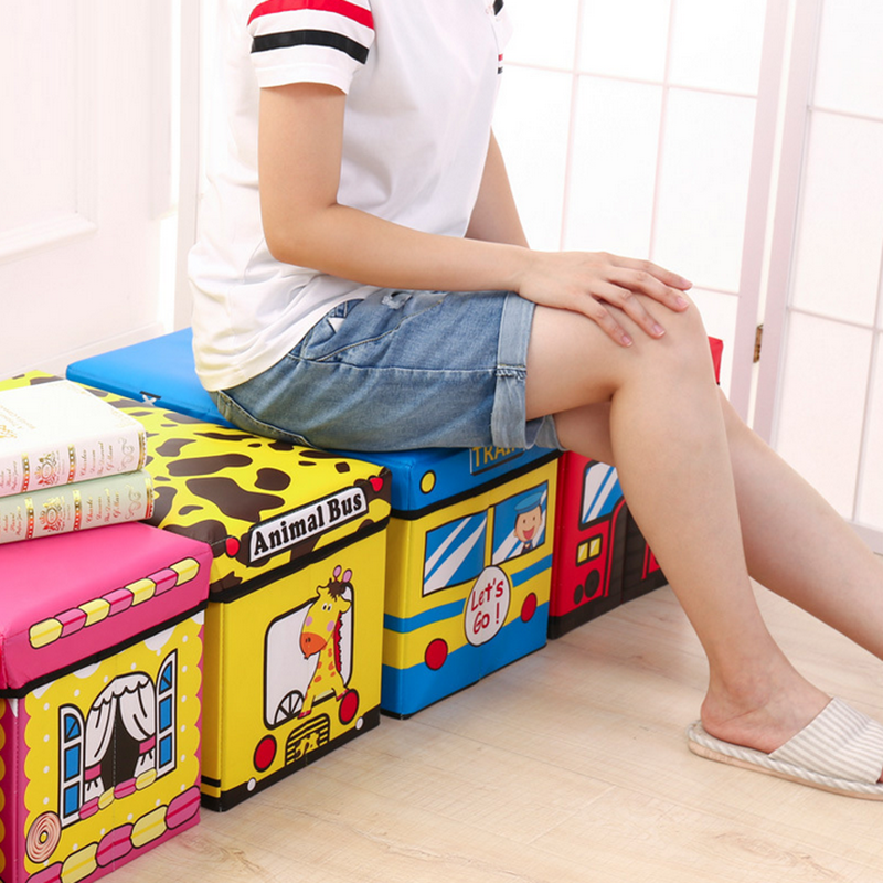 Children's Clothes Toy Storage Box Cartoon Storage Stool Baby Clothing Can Sit People Change Shoe Stool Multifunctional Storage