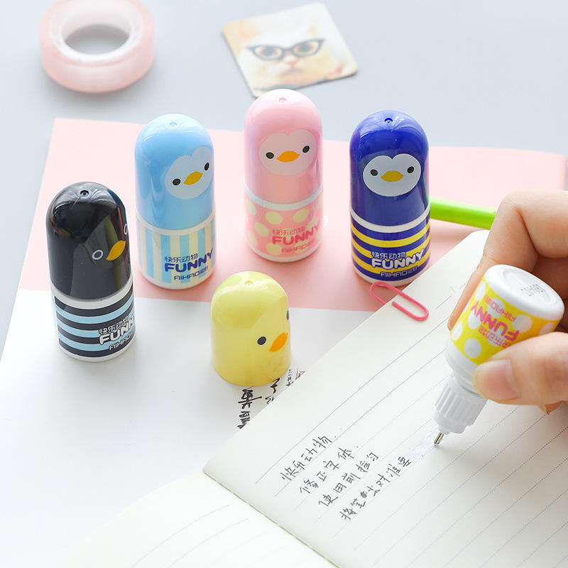 Popular Office Students Cartoon Cute Eco-Friendly Stationery Shape Correction Pen Fluid