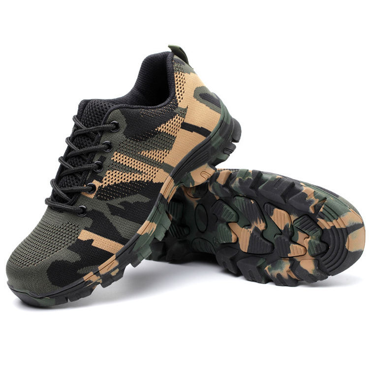 Army Camouflage Carbon Fiber Steel toe Light Weigh Breathable Flying Knit Cloth Industrial/Sports Shoes