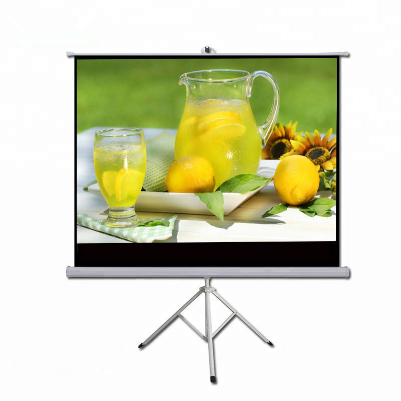 "60"" 16:9 Hand locking Tripod stand Projection Screen matte white fabric Projector Screen"