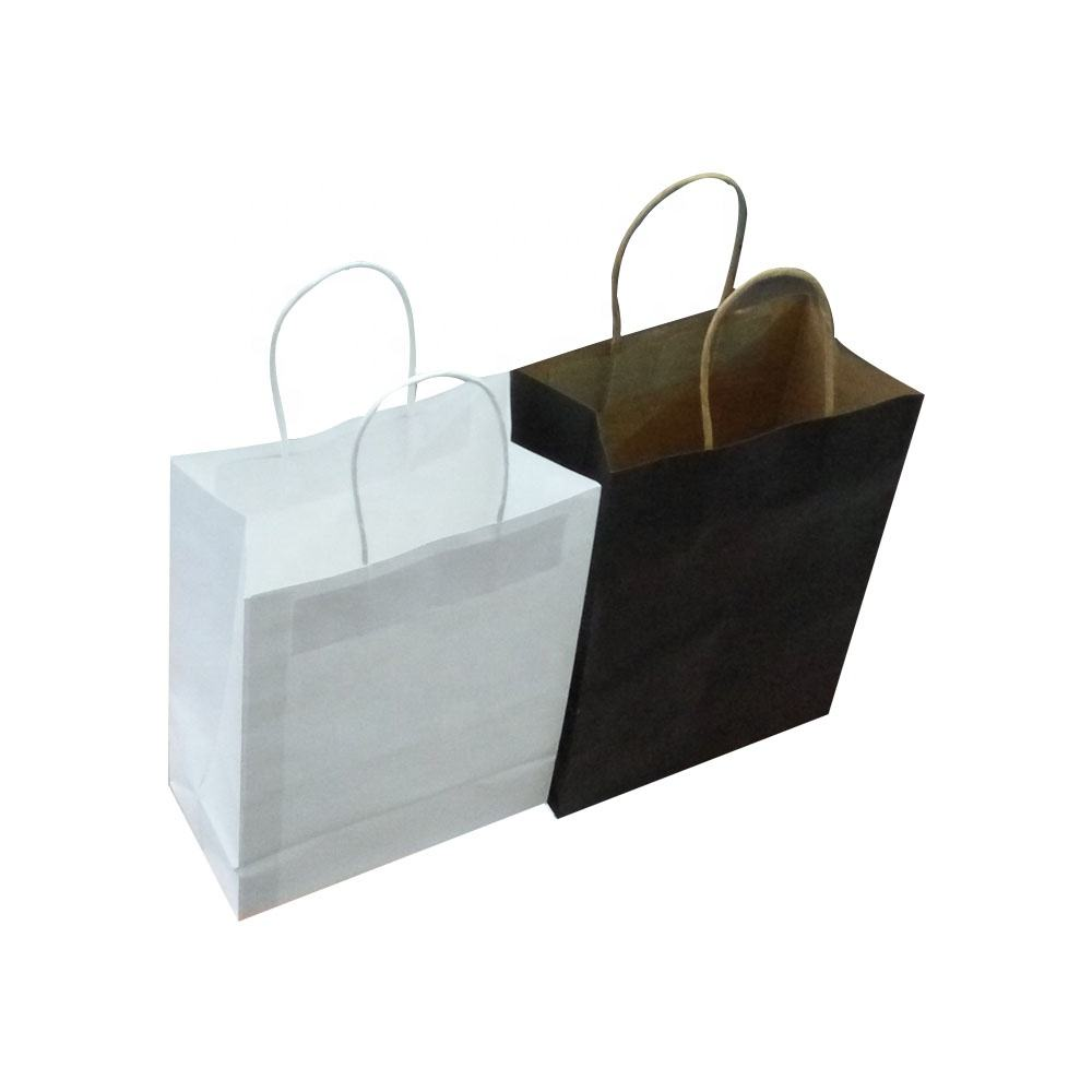 Logo printed collapsible shopping bag with handle reusable kraft paper shopping bag