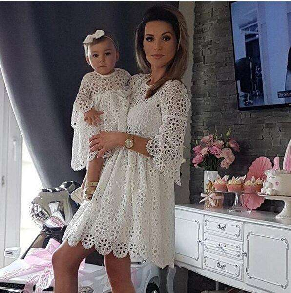 2019 european style family clothes mom and daughter lace flower splice dress mom and me summer dresses