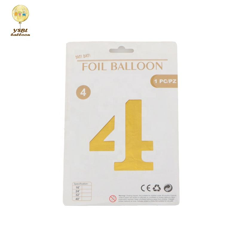 New Arrived Hot Selling 16 inch 0-9 Number Shape Retail Individual Packing Number Balloon For Birthday Party Decoration
