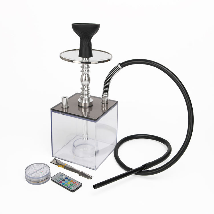 Wholesale Hookah Shisha Smoking Chicha Square Sheesha Hookah Acrylic Import Hookahs for Sale narguile with led Light