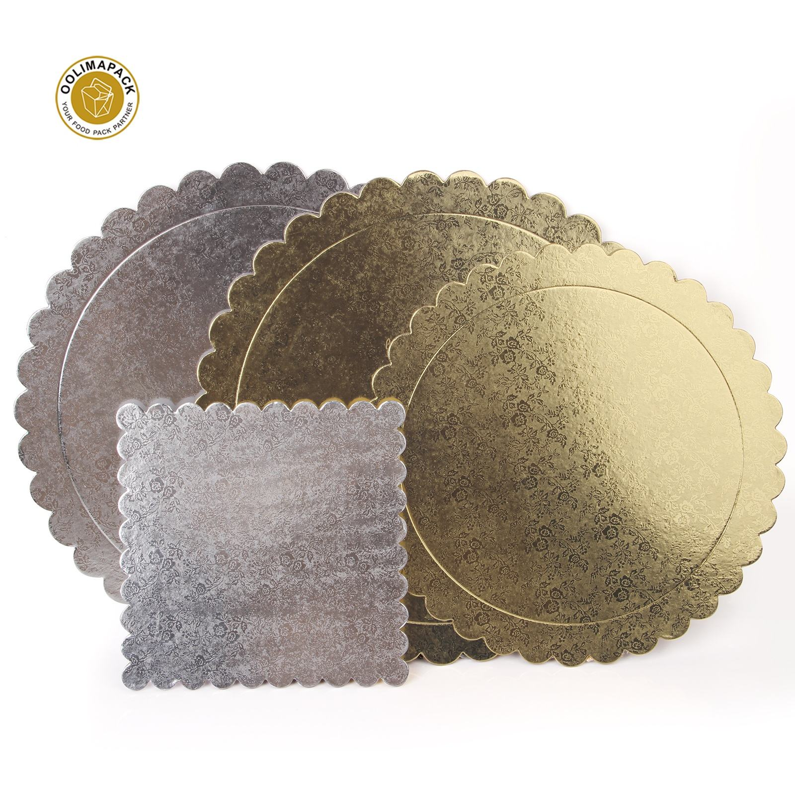 6/8/12inch Round boards cake lace mat decoration bottom paper wedding birthday party cake trays gold card board