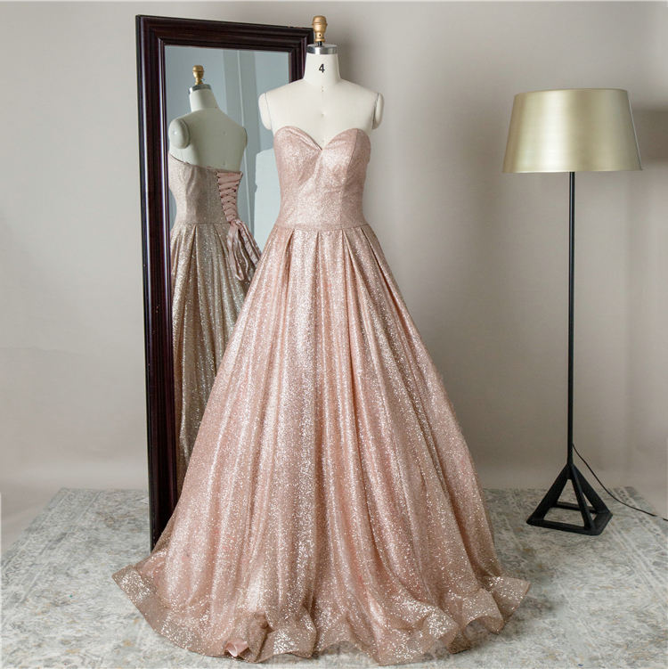 Chaozhou supplier sweep train sweetheart shiny lace up ball gowns long ladies evening dress