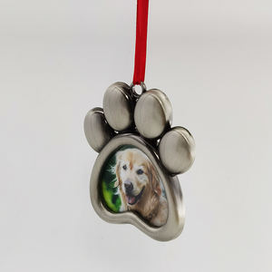 Dogs Paw Print Photo Frame Pet Holiday Keepsake Metal Photo Frame Ornament Paw Print Metal Christmas Ornament