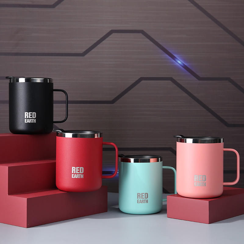Mug Coffee Factory Wholesale Pink Insulated 440ml 304 Stainless Steel Tea Coffee Warmer Mug Cup Custom Logo With Handle
