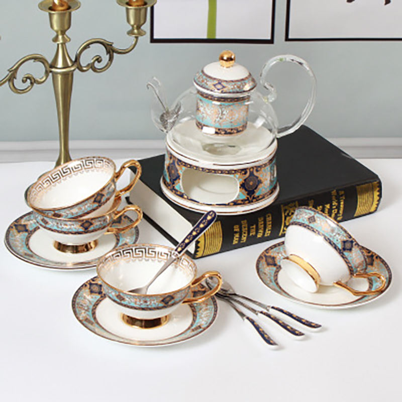 2020 new style luxurious tea cup saucer set teapot with cup porcelain luxury porcelain