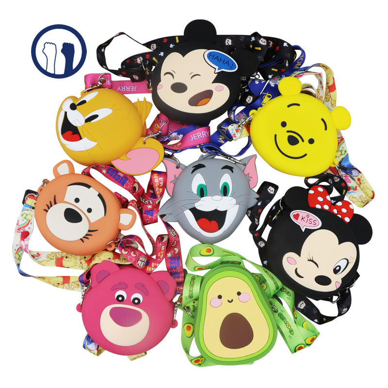 2020 new Best selling cartoon silicon jelly Portable cute silicon coin purse for girls kids