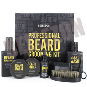 Bellezon Luxury Organic Hemp Seed Oil Sandal Wood Beard Growth Grooming Kit