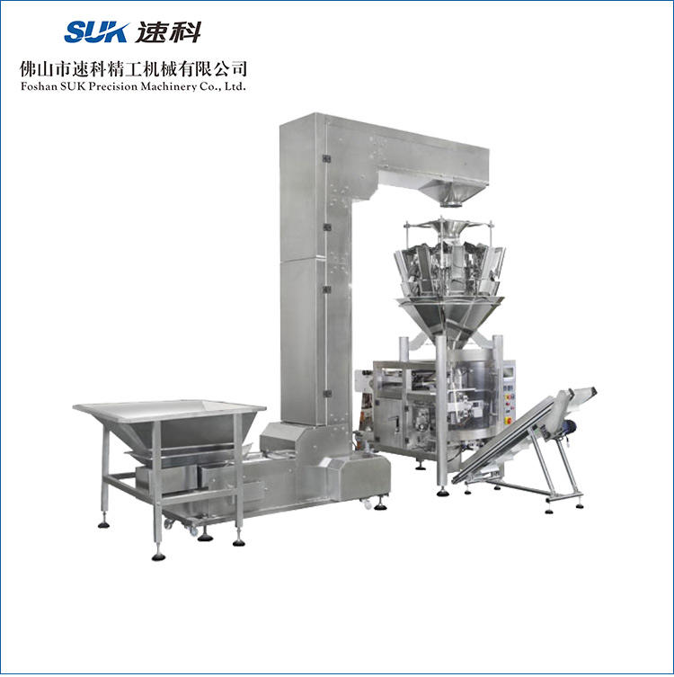 PLC Control Automatic Popcorn Durian Chips Banana Chips Vertical Packing Machine with Multiple Head weigher