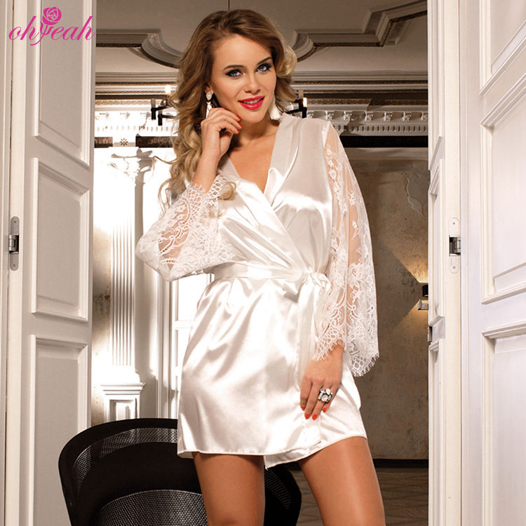 Wholesale high quality long sleeve white bride women satin lace robe de mariage