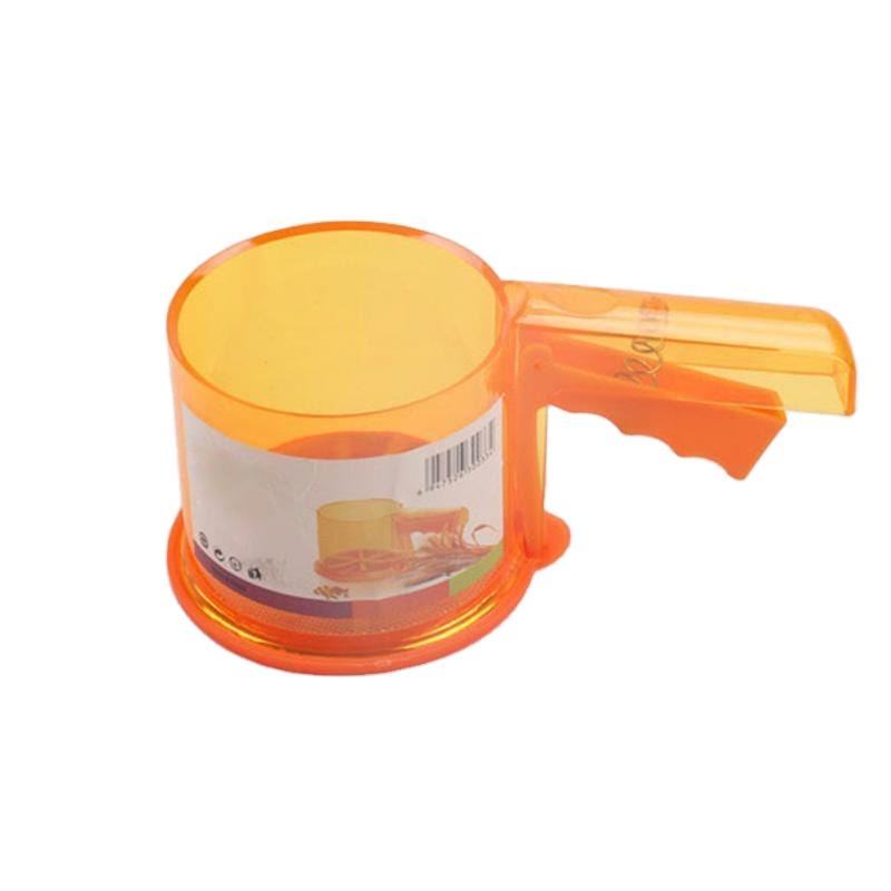 Free Shipping Plastic Sifter Cup Shape Mechanical Flour Sieve Powder Sifter Baking Icing Sugar Shaker with Handle Manual Baking
