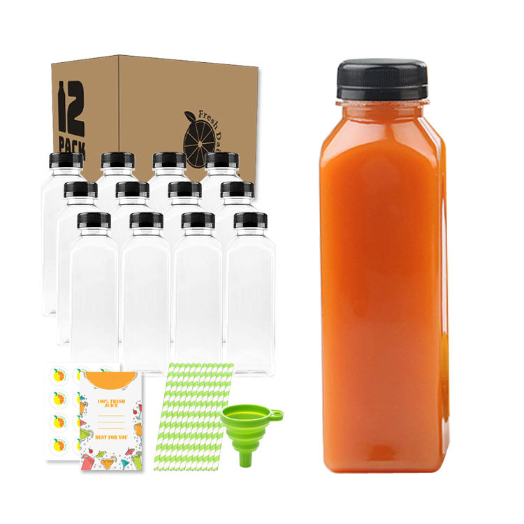 Food Grade BPA Free 16 oz Empty Clear Plastic Juice Milk Bottles with Black Tamper Evident Caps and Straws 12 Sets in Bulk