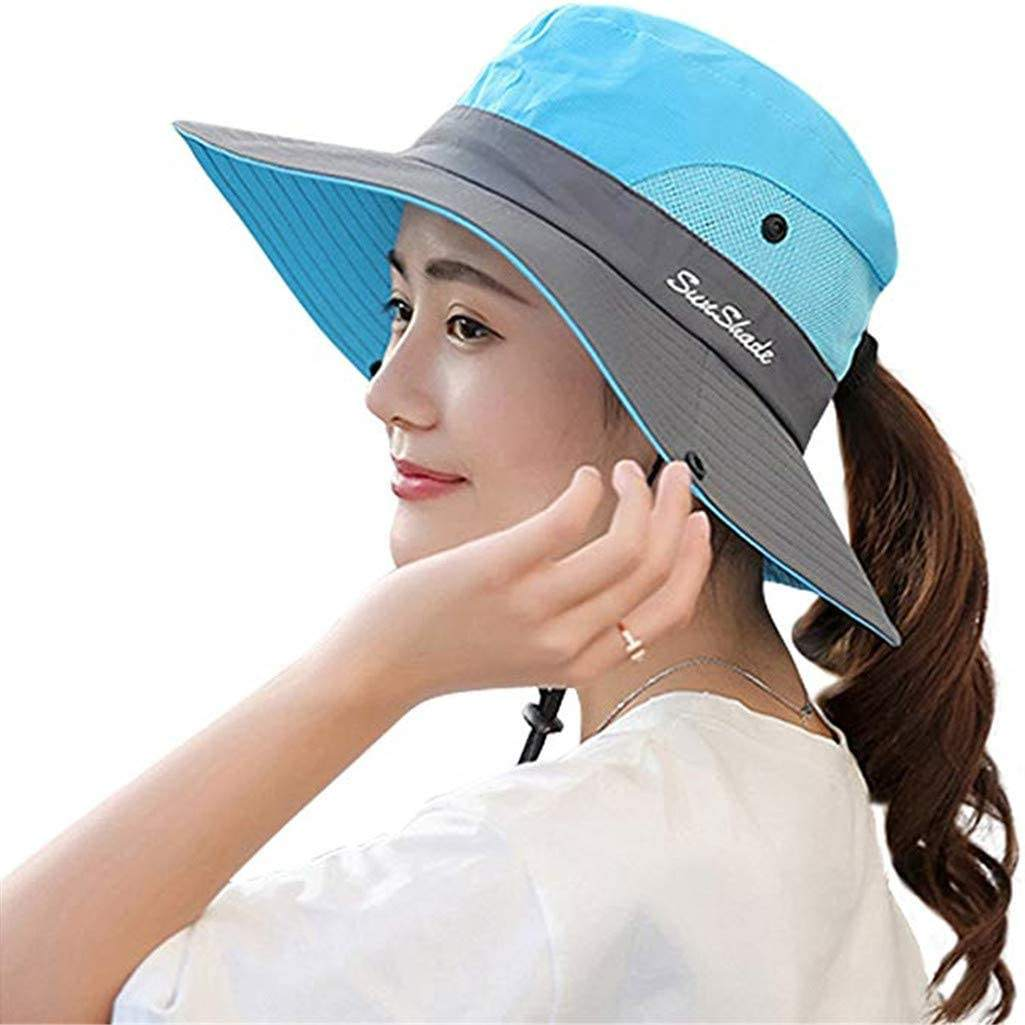 Women Ponytail Safari Sun Hats For Women With UV Protection Foldable Bucket Hat