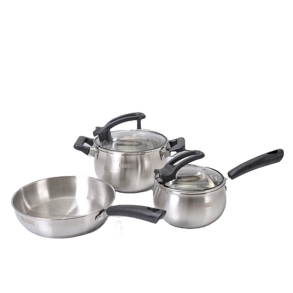Hot Sale Hight Quality 3pcs Kitchen Cookware Stainless Steel Soup pot cookware set Cooking Pots