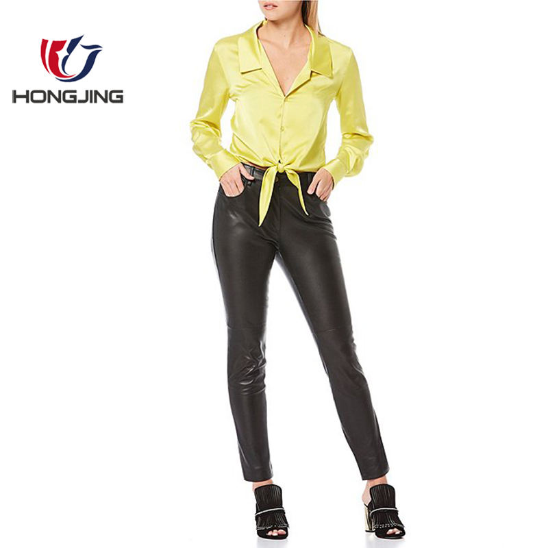 lady Satin Tie Button Front Blouse Point Collar Long Sleeves Cropped Buttons at Sleeve Cuff Button front closure holiday evening