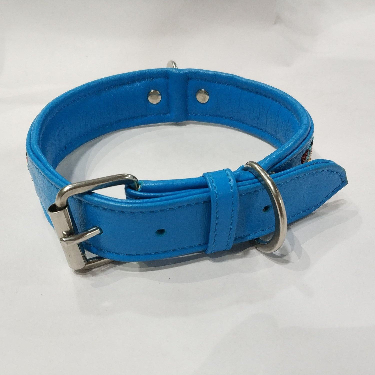 Turquoise blue padded soft leather with solid brass buckle moghani bead collar for dog and cat.