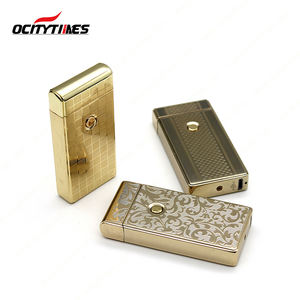 OCITYTIMES metal case double arc usb lighter Double Plasma Arc Flameless Windproof Metal Rechargeable arc lighter
