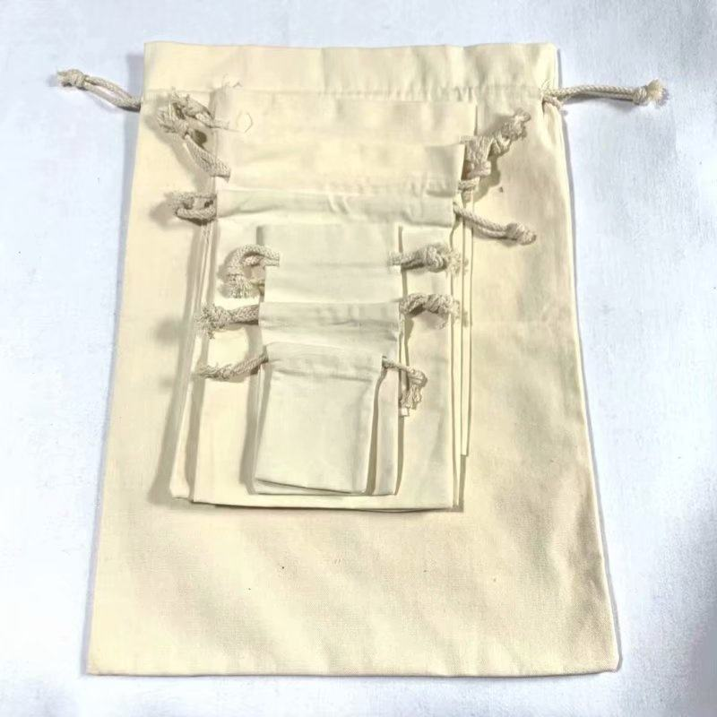 In stock eco friendly blank white organic cotton canvas cloth recyclable double hem shopper carry drawstring bag