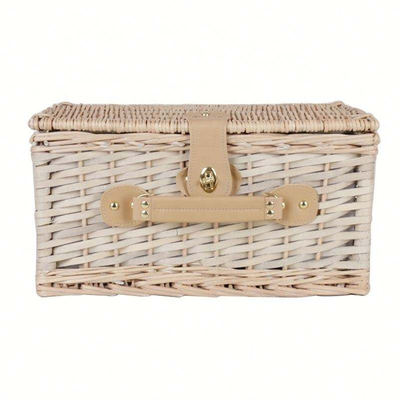 6 Person Folding Drink Holder Insulated Wholesale Picnic Wicker Basket For Cloth