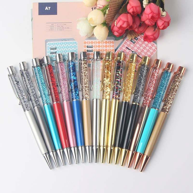 Beautiful rose gold silver gold metal gift ballpoint liquid glitter floating pen
