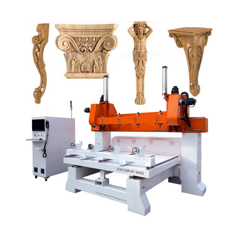 Multi Head 3D Rotary 4 Axis CNC Wood Carving Copy Machine, 3D Wood Furniture Making Machine / 3D Wood Carving Machine 5 Axes