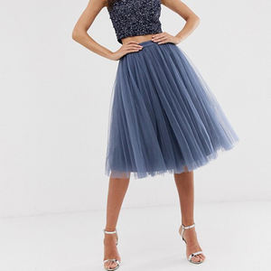 Women's grey mesh pleated Skirt Customized high waist girl sweet skirt elastic waist midi ruffle tulle skirt